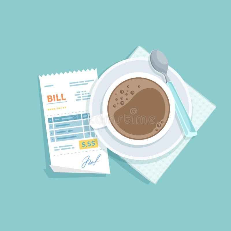 Бумажный счет для чашки кофе Оплачивать получения ресторана Проверка кассира, фактура, заказ иллюстрация вектора