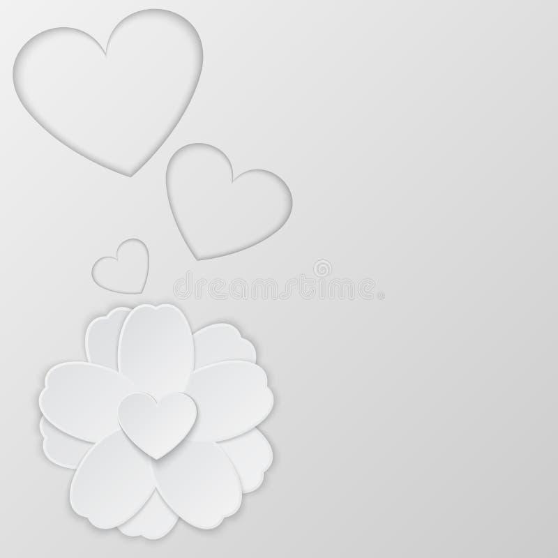 Бумажный цветок и сердце Справочная информация вектор иллюстрация штока