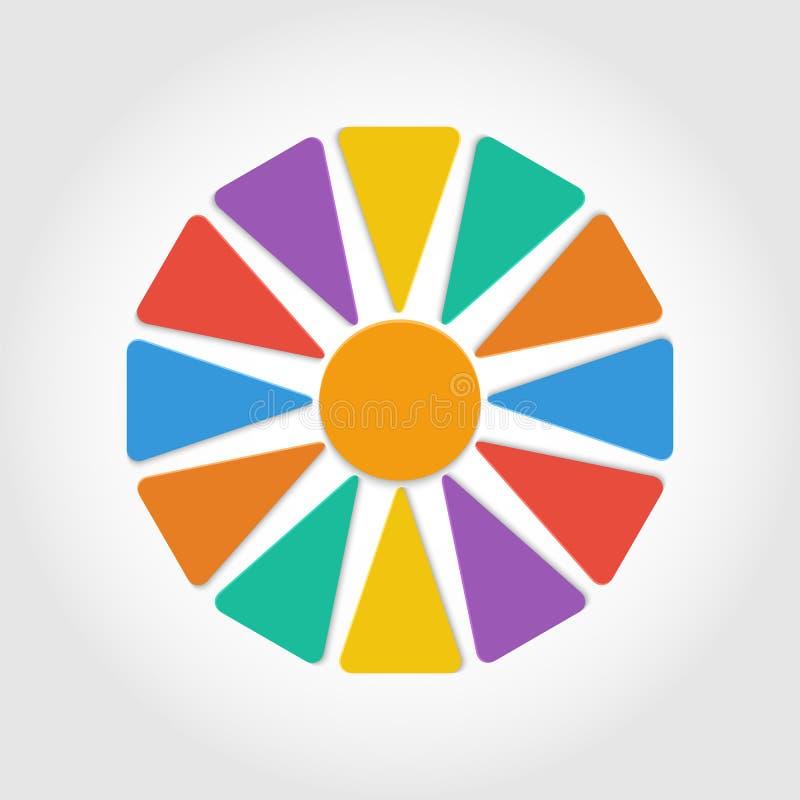 Download Бумажный цветок с красочными лепестками Иллюстрация вектора - иллюстрации насчитывающей пульпа, ярлык: 37927465