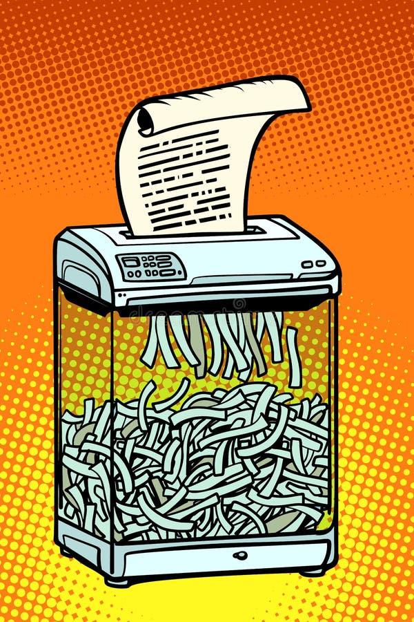 Бумажный шредер, прибор офиса Секретная информация бесплатная иллюстрация