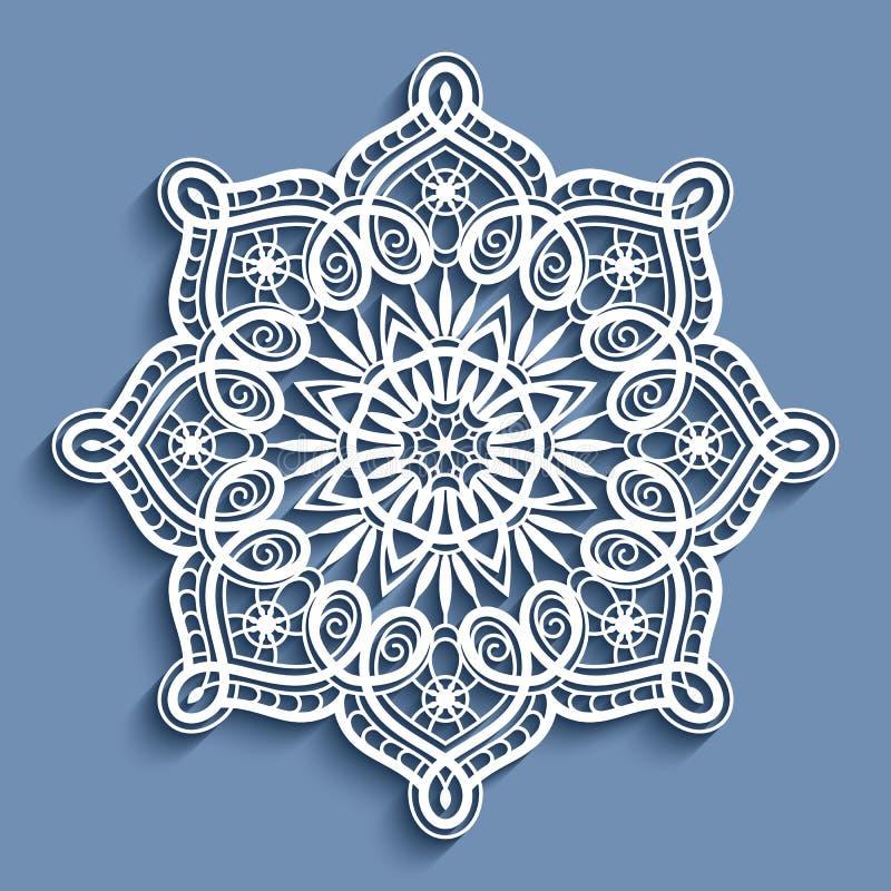 Бумажный doily шнурка, круглый орнамент вязания крючком иллюстрация штока