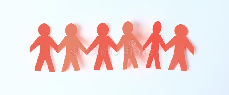 4 бумажных люд принимая руки ` s одина другого стоковое изображение