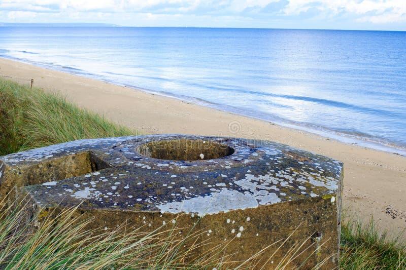 Бункер WW2 Tobruk, пляж Юты стоковые изображения rf