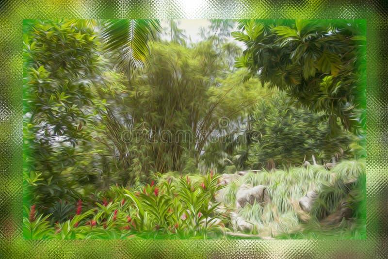 Бунт масла щетки растительности расплывчатого в стеклянной коробке стоковые фотографии rf
