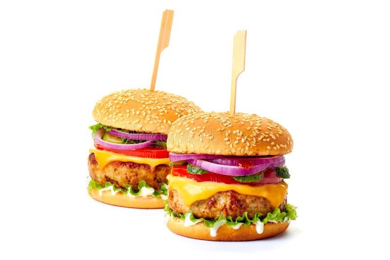 2 бургера на белизне стоковое фото rf