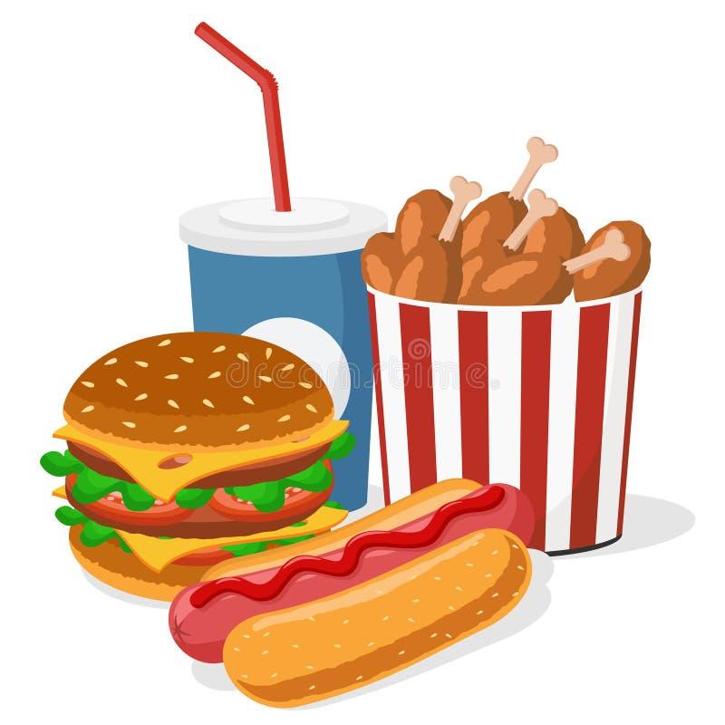 Бургер, горячая сосиска, крыла цыпленка и крупный план питья бесплатная иллюстрация