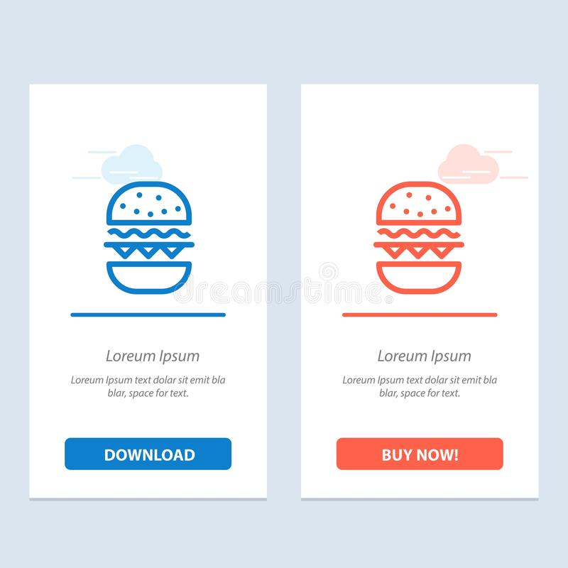 Бургер, еда, ест, синь Канады и красная загрузка и покупает теперь шаблон карты приспособления сети иллюстрация вектора