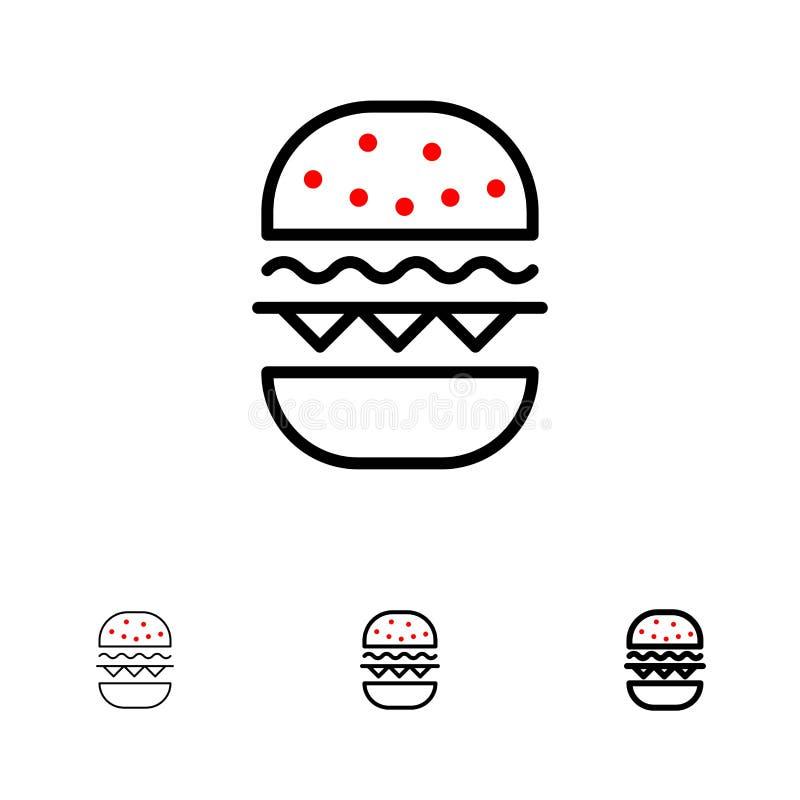 Бургер, еда, линия набор ест, Канады смелая и тонкая черная значка иллюстрация вектора