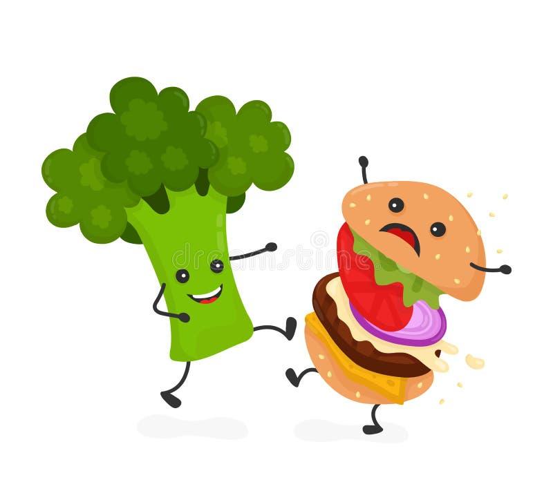 Бургер пинком брокколи счастливой улыбки сильный иллюстрация штока