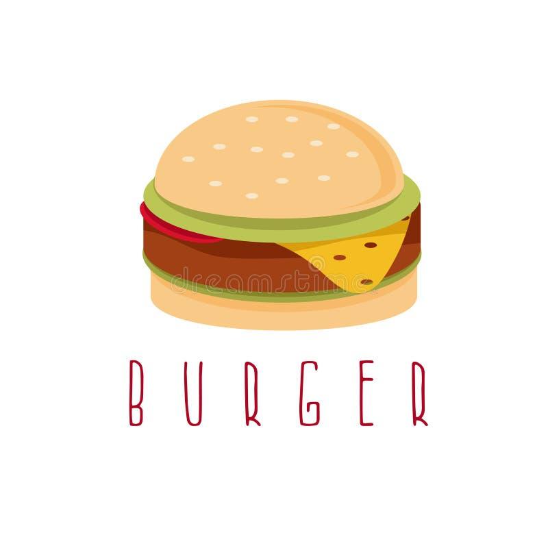 Бургер с салатом, сыр и мясо конструируют шаблон иллюстрация штока