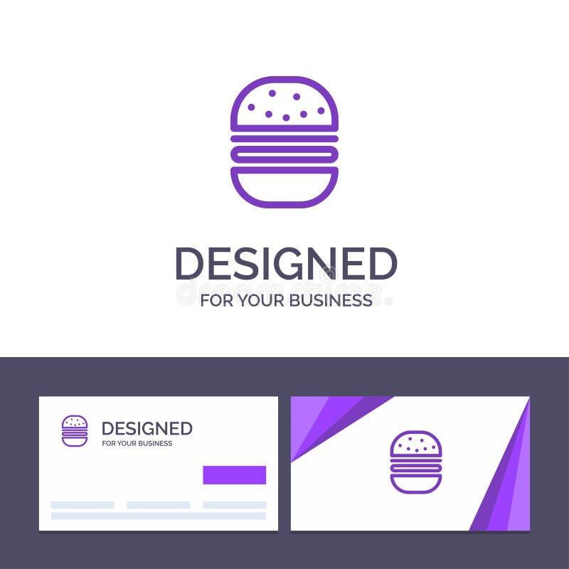 Бургер творческого шаблона визитной карточки и логотипа, фаст-фуд, быстрый, иллюстрация вектора еды иллюстрация штока