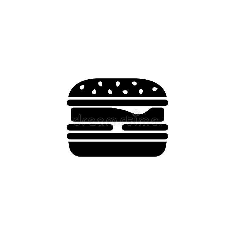 Бургер фаст-фуда, Cheeseburger, значок вектора гамбургера плоский иллюстрация вектора