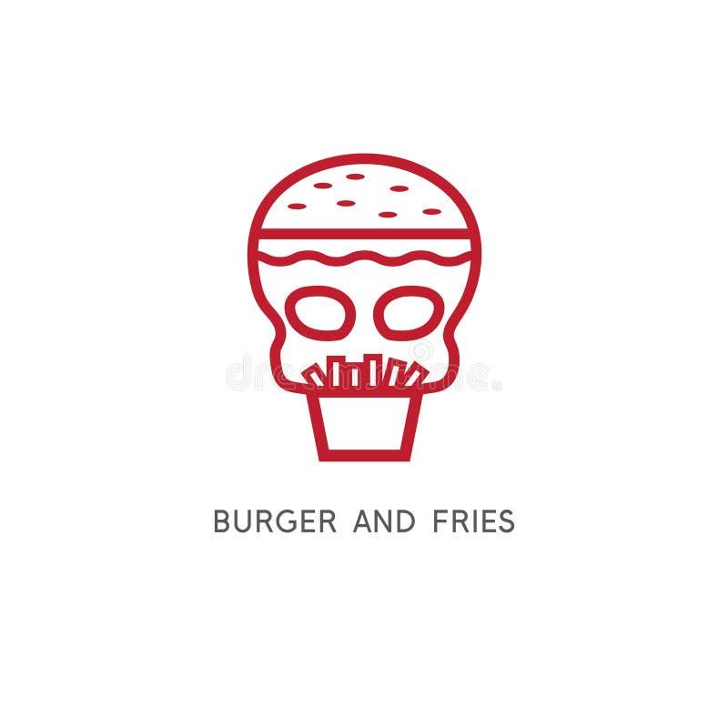 Бургер, фраи и вектор черепа простой иллюстрация штока