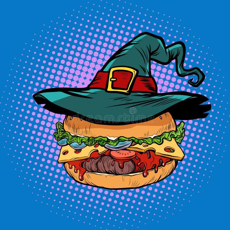 Бургер хеллоуина, праздник фаст-фуда иллюстрация вектора