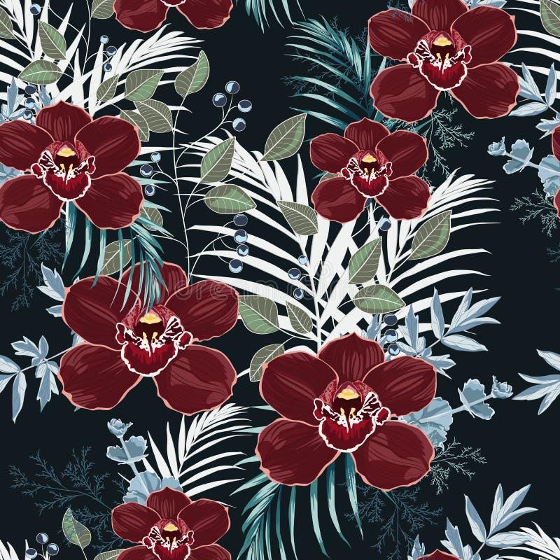 Бургундская орхидея, травы, ягоды, листья ладони и картина растительности безшовная иллюстрация вектора