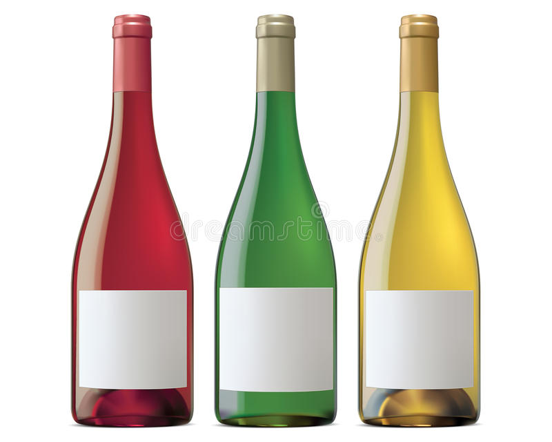 Бургундские бутылки вина. Иллюстрация вектора иллюстрация штока