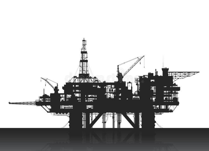 Буровая вышка моря Нефтяная платформа в глубоком море иллюстрация вектора