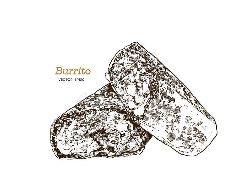 Буррито Калифорнии вектор эскиза притяжки руки Мексиканский комплект еды бесплатная иллюстрация