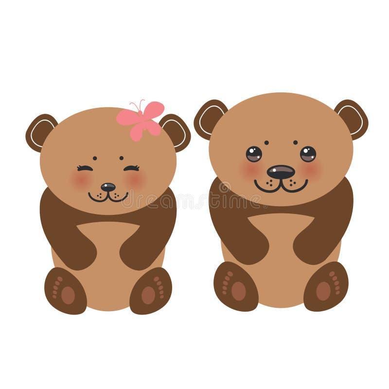 Бурые медведи девушка Kawaii смешные и белизна мальчика muzzle бесплатная иллюстрация