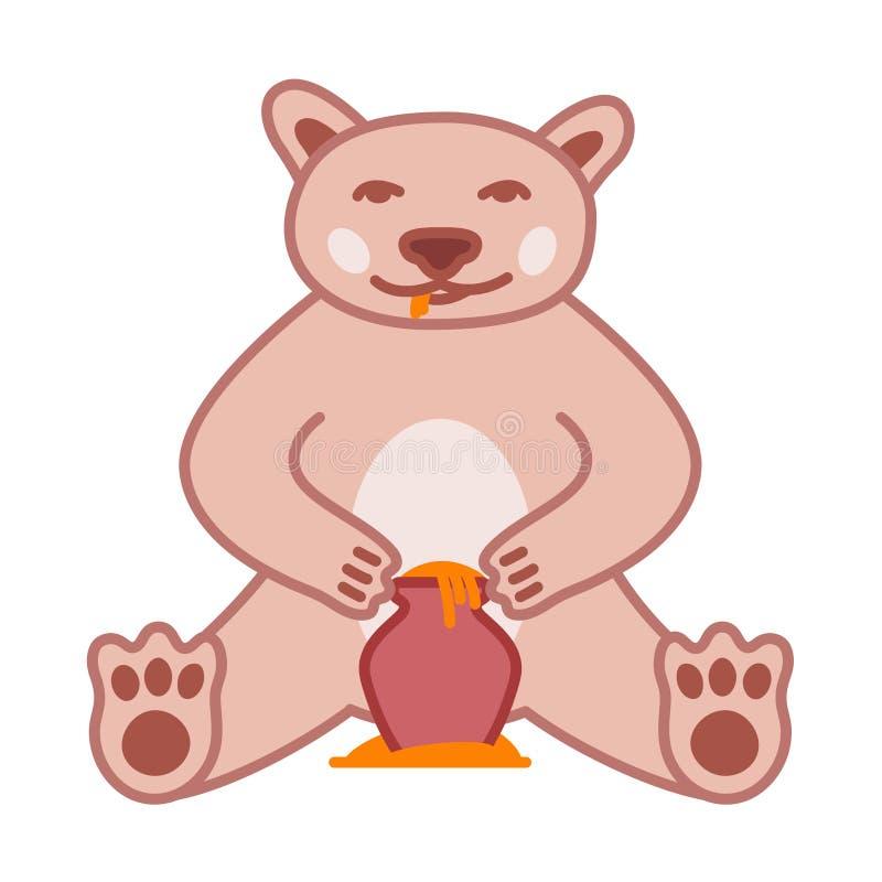 Бурый медведь ест мед от бака, милой иллюстрации вектора с планом бесплатная иллюстрация