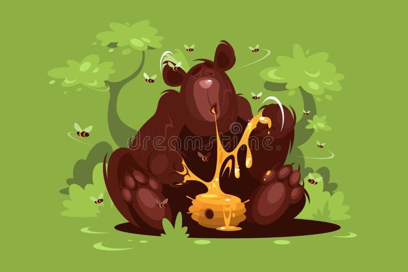 Бурый медведь ест сладостный мед иллюстрация вектора
