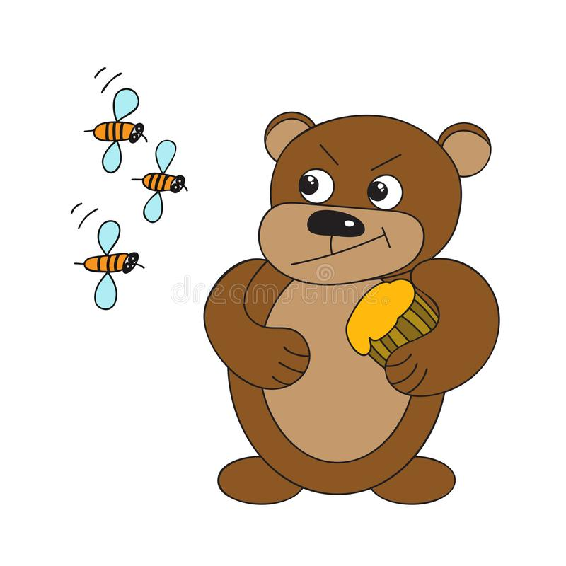 Бурый медведь с бочонком меда и пчел иллюстрация штока