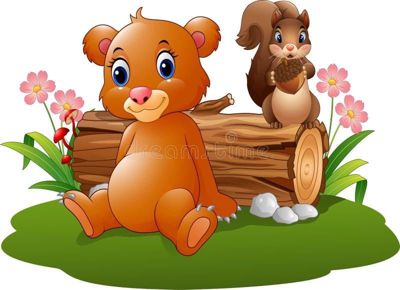 Бурый медведь младенца шаржа с белкой в лесе иллюстрация вектора
