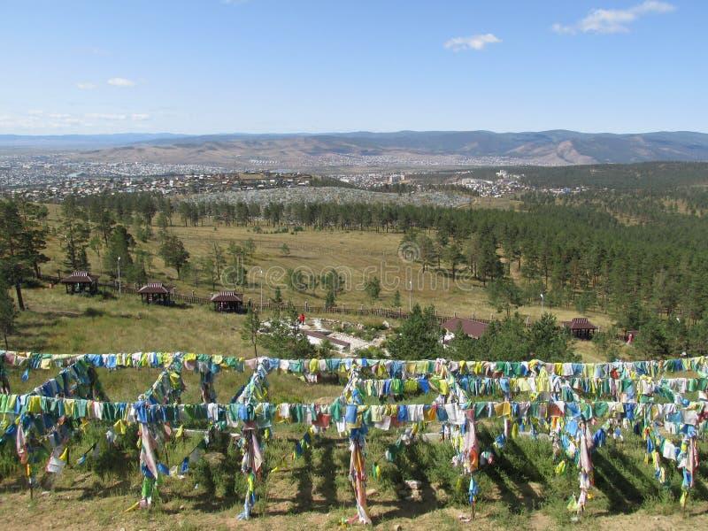 Бурятия Взгляд Улан-Удэ от облыселой горы стоковая фотография rf