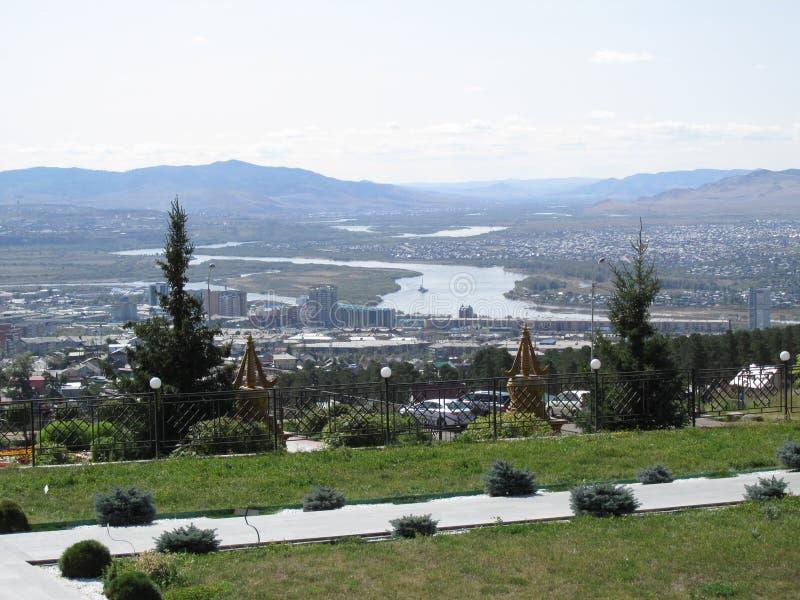 Бурятия Взгляд Улан-Удэ от облыселой горы стоковые фотографии rf