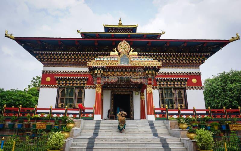 Бутанский буддийский висок в Bodhgaya, Индии стоковые изображения rf