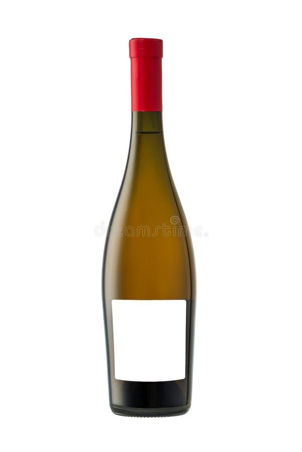 Бутылка белого вина изолированная на белой предпосылке, пустом ярлыке стоковые изображения rf