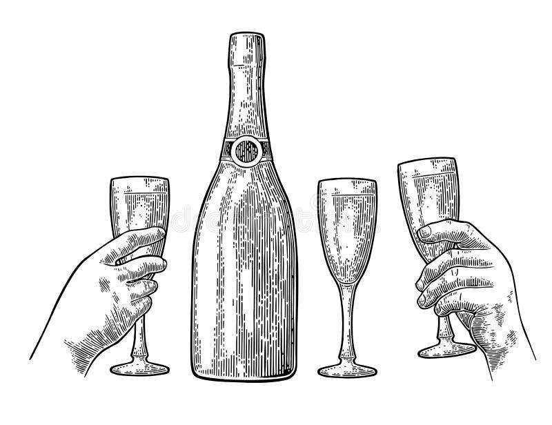 Бутылка взрыва Шампани и рука держат стекло иллюстрация вектора