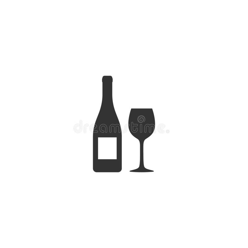 Бутылка вина и стеклянный простой набор значка вектора иллюстрация штока