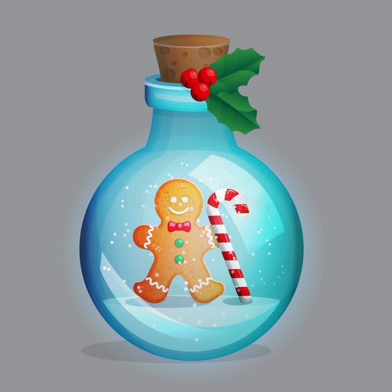 Бутылка волшебного зелья с украшением зимы внутрь иллюстрация штока