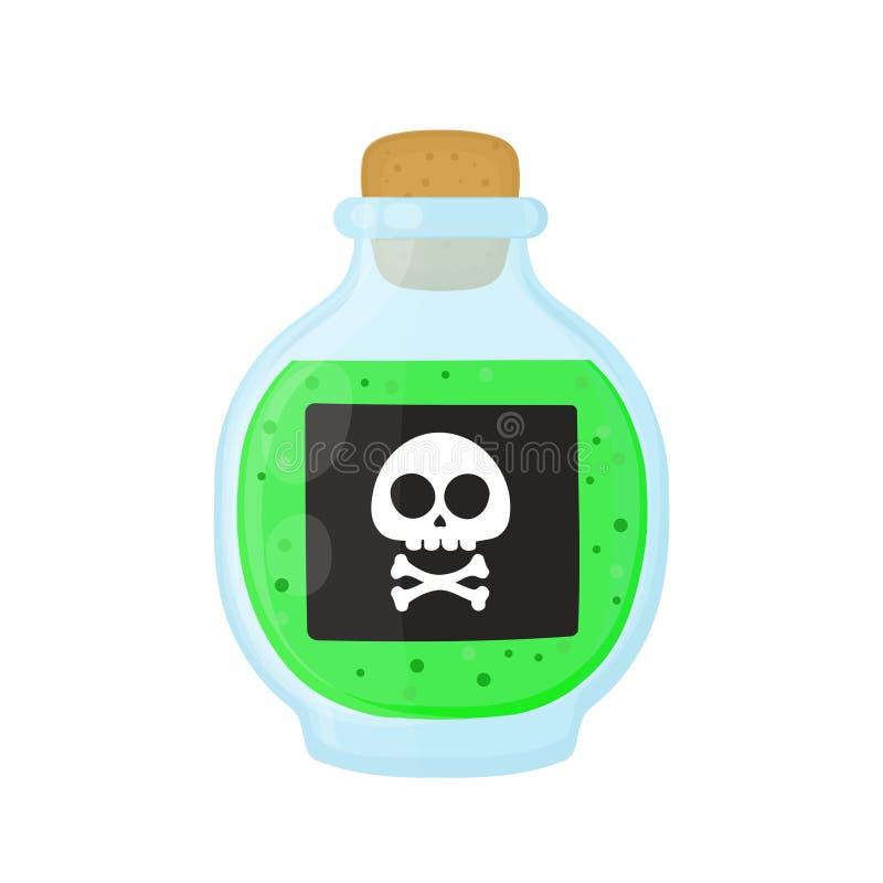 Бутылка волшебной кисловочной зеленой токсической отравы бесплатная иллюстрация