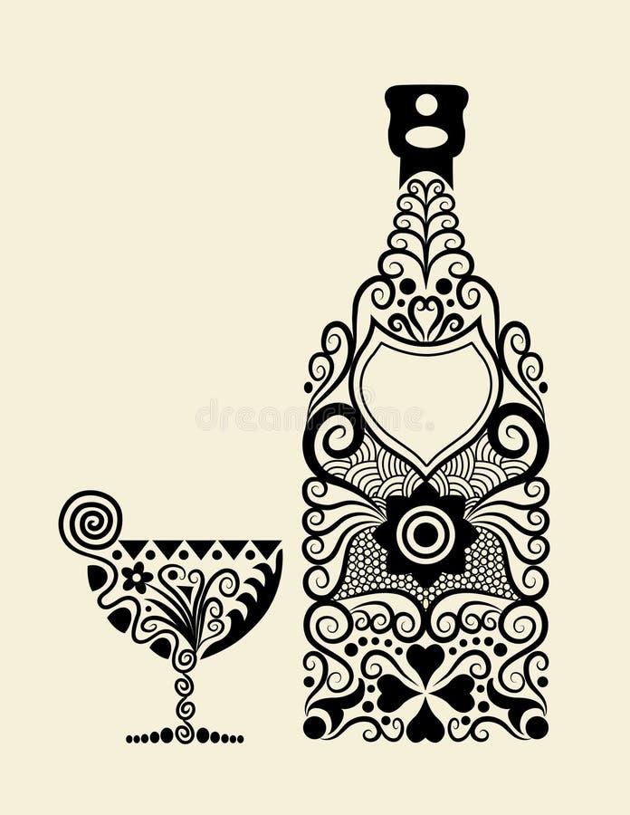 бутылка декоративная иллюстрация вектора