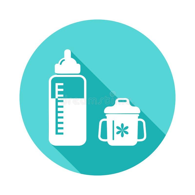 бутылка для подавать значок ребенка в плоской длинной тени Одно значка собрания младенца можно использовать для UI/UX иллюстрация штока