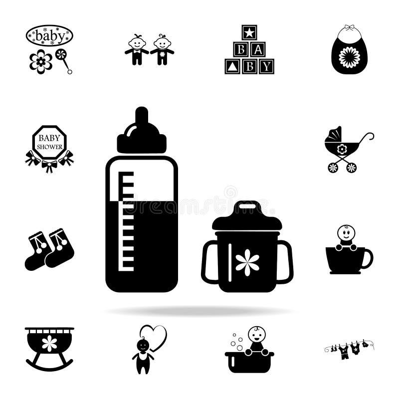 бутылка для подавать значок ребенка Комплект значков младенца всеобщий для сети и черни иллюстрация вектора