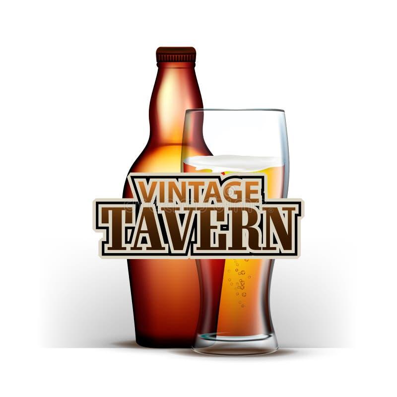 Бутылка и стекло вектора харчевни пива винтажного бесплатная иллюстрация