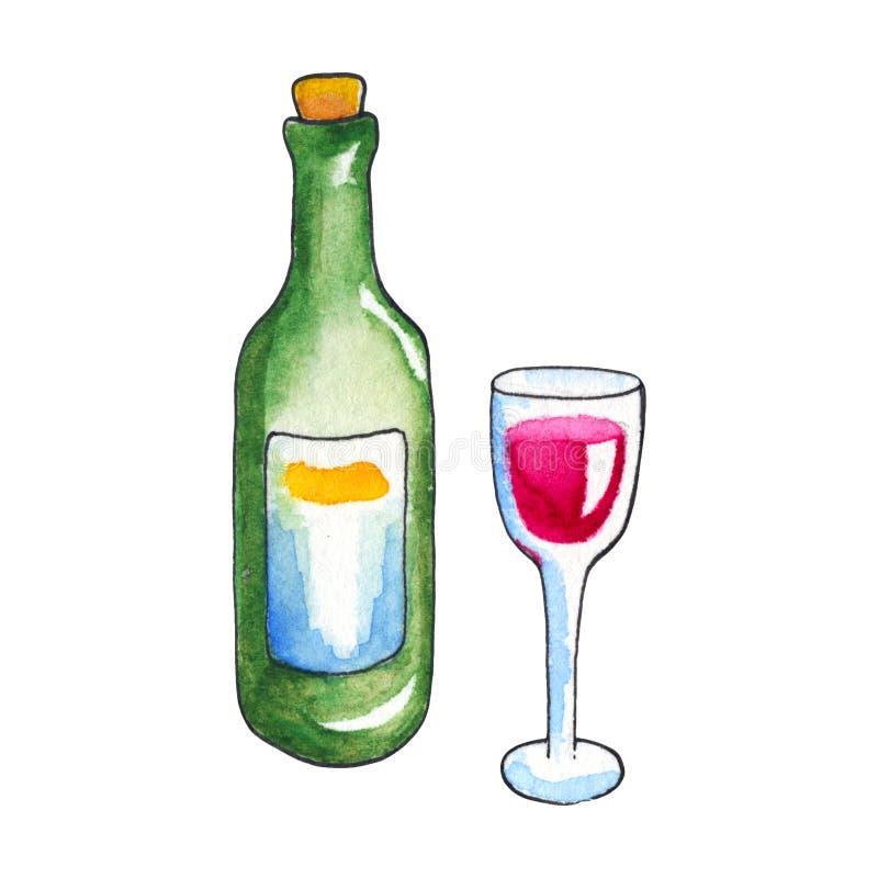 Бутылка и стекло вина акварелями на белой предпосылке Иллюстрация выпивать вина handdrawn иллюстрация вектора