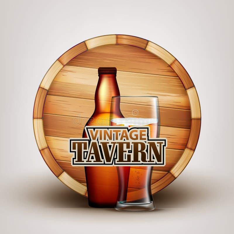 Бутылка и стекло пива с деревянным вектором бочонка бесплатная иллюстрация