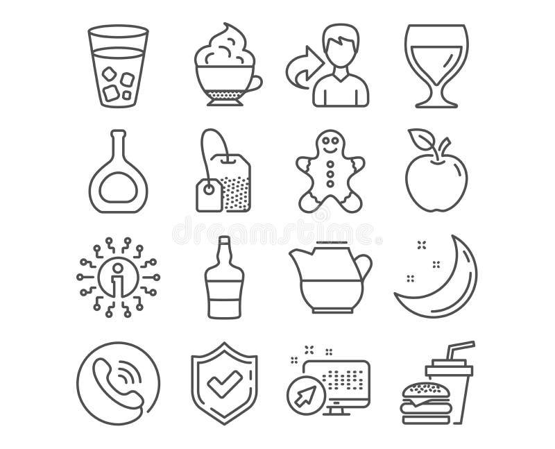 Бутылка коньяка, человек пряника и значки пакетика чая Кувшин молока, бокал и шотландские знаки бутылки вектор иллюстрация вектора