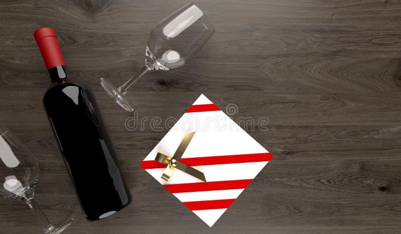 Бутылка красного вина с 2 пустыми стеклами и подарочными коробками иллюстрация вектора