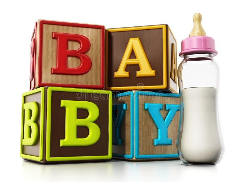 Бутылка кубов младенца и подавать изолированная на белой предпосылке иллюстрация 3d иллюстрация штока