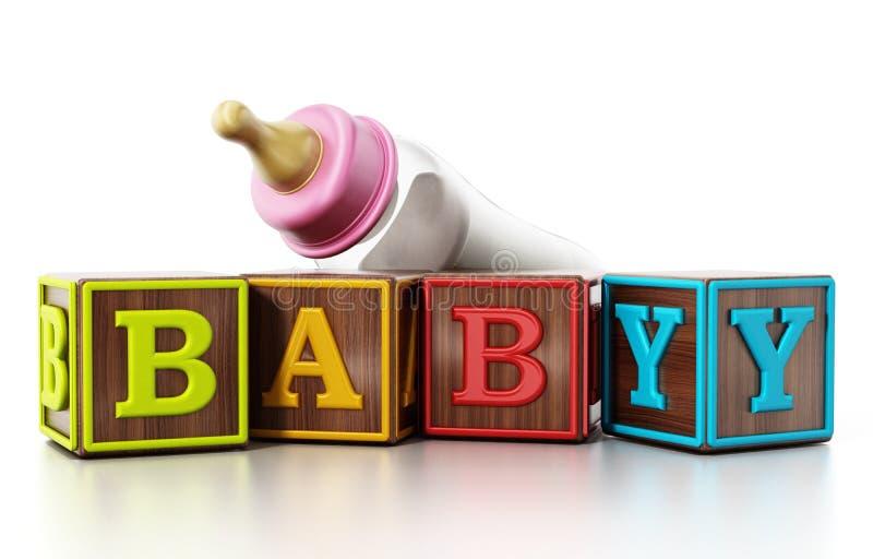 Бутылка кубов младенца и подавать изолированная на белой предпосылке иллюстрация 3d иллюстрация вектора