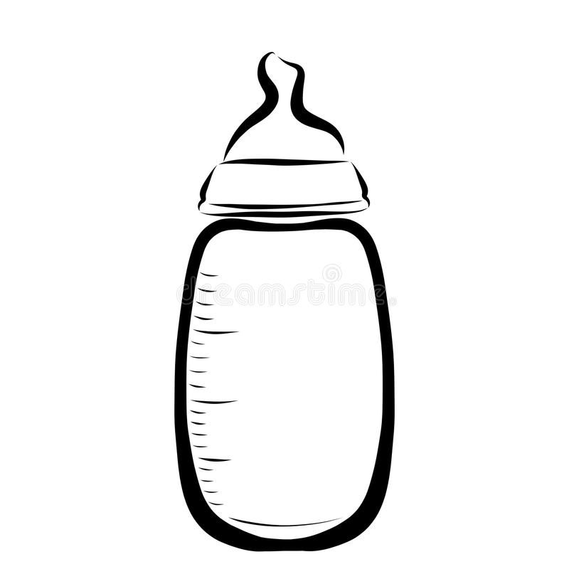 Бутылка младенца для подавать, младенчество иллюстрация вектора