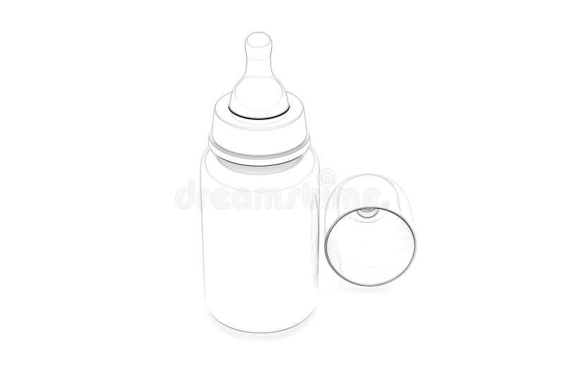 Бутылка младенца руки вычерченная - взгляд со стороны 3d бесплатная иллюстрация