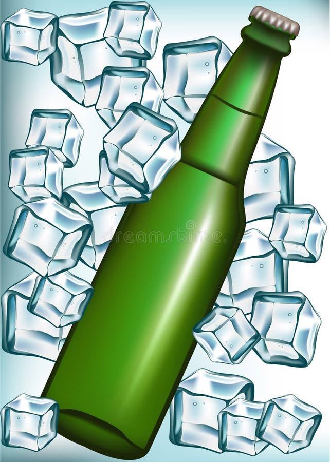 бутылка пива cubes льдед иллюстрация штока