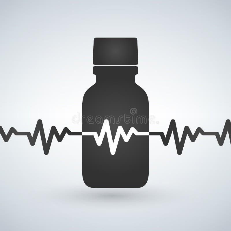 Бутылка пилюлек с значком биения сердца Cardio дополнение лекарства Символ силуэта Иллюстрация изолированная вектором иллюстрация вектора