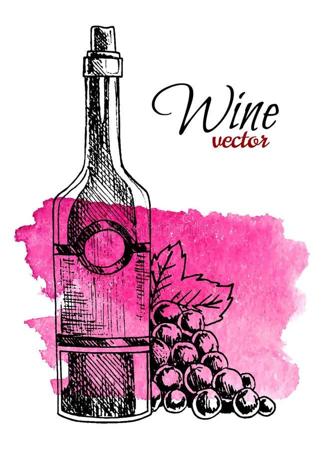 Бутылка руки вычерченная вина и виноградины на предпосылке выплеска акварели Ретро иллюстрация вектора стиля иллюстрация вектора
